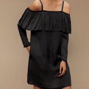 Aritzia Wilfred Black Satin Off Shoulder Dress-XS